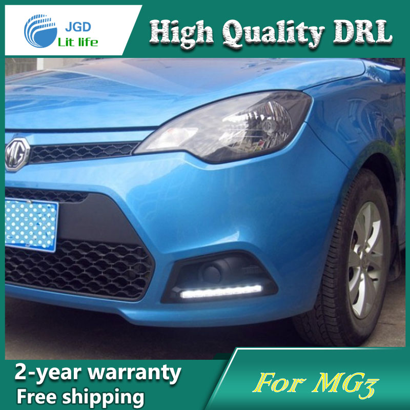 high quality ! 12V 6000k LED DRL Daytime running light for MG MG3 2010-2013 Fog lamp frame Fog light Car styling
