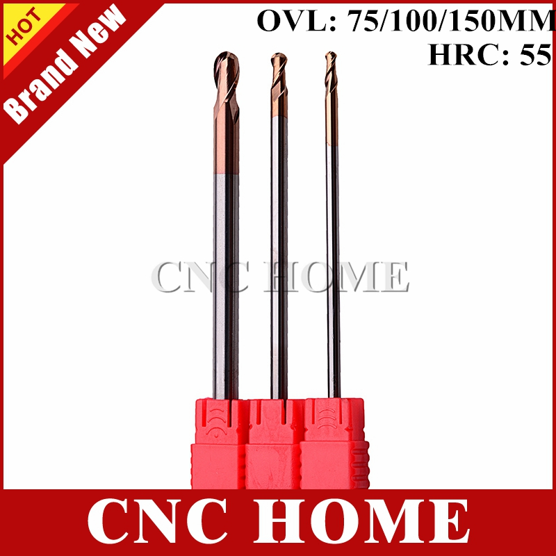 1pc Hrc55 Two Flutes End Mill Ball Nose Long Length Bit Tungsten Carbide Cnc Milling Cutter Lengthen R1.5 R2 R3 R4 R5 R6 R8 R10