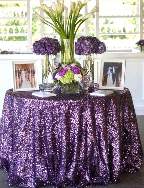 Factory Directly Whole 15pcs Wedding Decorative Purple Silver Glitter Sequin Table Cloth 120