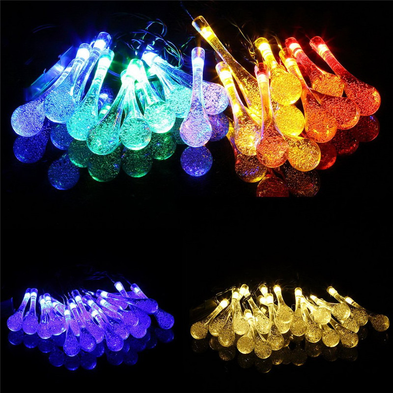 LEDlight post Solar Powered Water Drop String Lights LED Fairy Light for Wedding ChristmasParty Festival Outdoor Indoor Decorled
