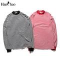 Oversized Striped Crew Neck Mens Sweatshirt 2017 Winter Hip Hop Sweatshirt Men Long Design Loose Style Simple Sweatshirts 2color