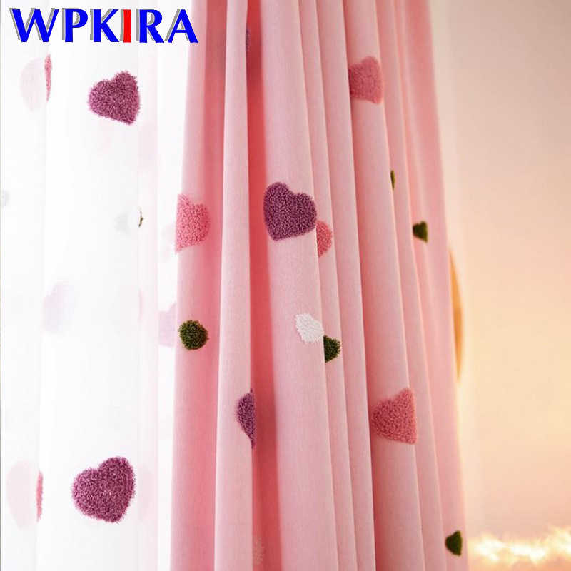 Cartoon Blackout Curtain For Baby Girls Childrens Bedroom Embroidered 3D Pink Love Heart Luxury Curtain For Living Room M057D3