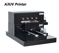 High Quality A3 Size LED UV Printer Flatbed 6 Colors Water Air System Leather CD phone Case Windows USB UV Printers