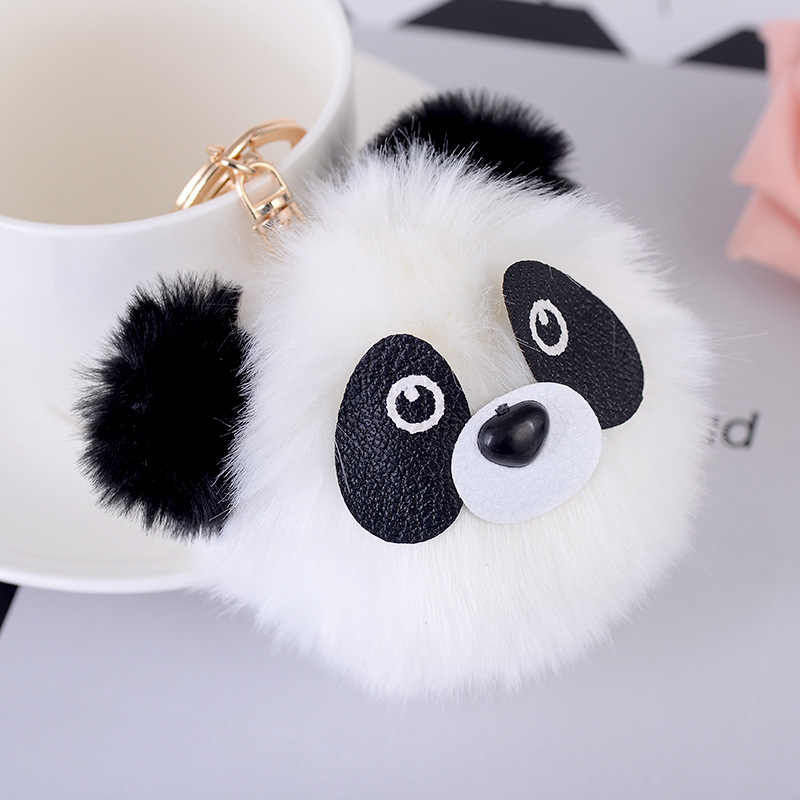 Fashion Fluffy Faux Rabbit Fur Ball Panda Keychain Women Bag Charms Pom Pom Bear Cat Gold Silver Key Ring Chain Jewelry Trinket