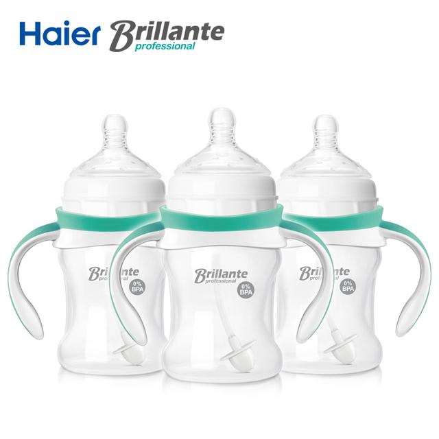 3 pçs/lote haier brillante sênior pega pp palha bebendo mamadeira infantil newbron bebê mamadeira garrafa 150 ml bpa livre