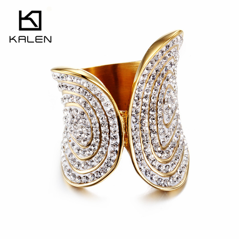 Kalen New Full White Rhinestone Rings Stainless Steel Peru Lima Gold Color Cast Women Irregular Rings For Engagement Party Gifts