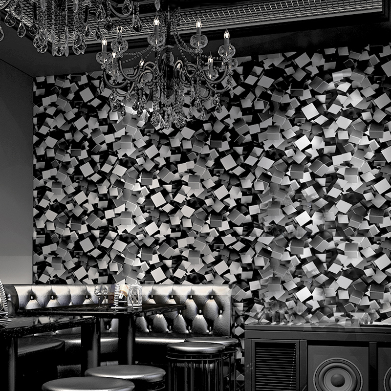 Black 3d Stereo Blocks Wallpaper Roll Modern Luxury Vinyl