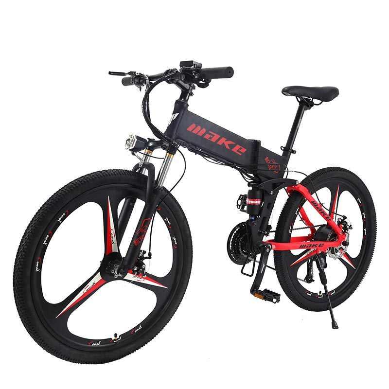MAKE Горный электрический велосипед двухподвесная алюминиевая складная рама 27 скоростей Shimano Altus механические дисковые