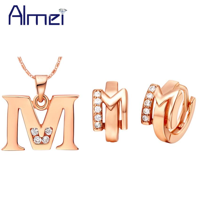 Almei Letter A B C D E F G H I J K L M N O P Q R S T U V W X Y Z Rose Gold Color Jewelry Sets for Women Crystal Earrings T324