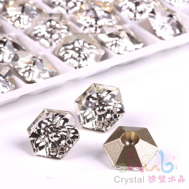 Czech Crystal Hexagon Loose Beads 12x12mm Clear Faceted Glass Rhinestones  Diy For Crafts Materials Making Jewelry Accessories 9d4d77bc39be