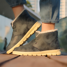 Hemmyi 21017 winter shoes for men lace-up keep warm fashion male boots rubber bottom Leather casual botas men ankle boots