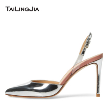 Womens Pointed Toe High Heels Sliver Slingback Pumps Nude Patent Leather Closed Heeled Slingbacks Ladies Bridal Shoes 2019