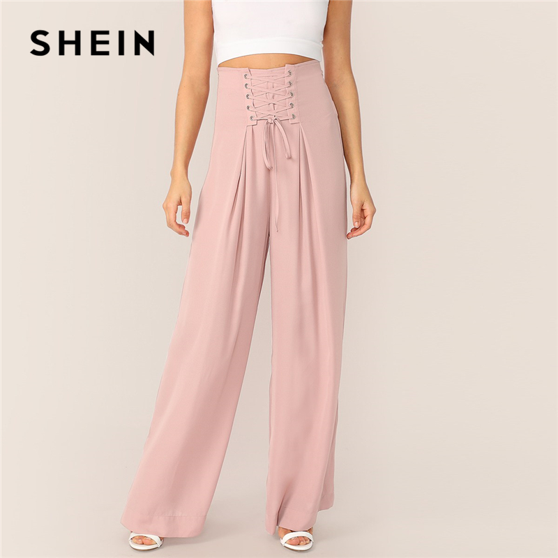 cd6239b10aa2 SHEIN Pink Lace-up Waist Pleated Wide Leg Pants Women Solid Long Trousers  Office Lady