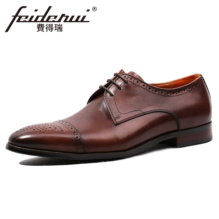 2018 Handmade Genuine Leather Mens Footwear Round Toe Derby Breathable Man Formal Dress Wedding Party Brogue Shoes HQS109 ...