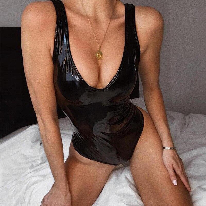 Nadafair Sleeveless Black PU Sexy Bodysuit Women V Neck Party Club Skinny Romper Summer Faux Leather Body Female