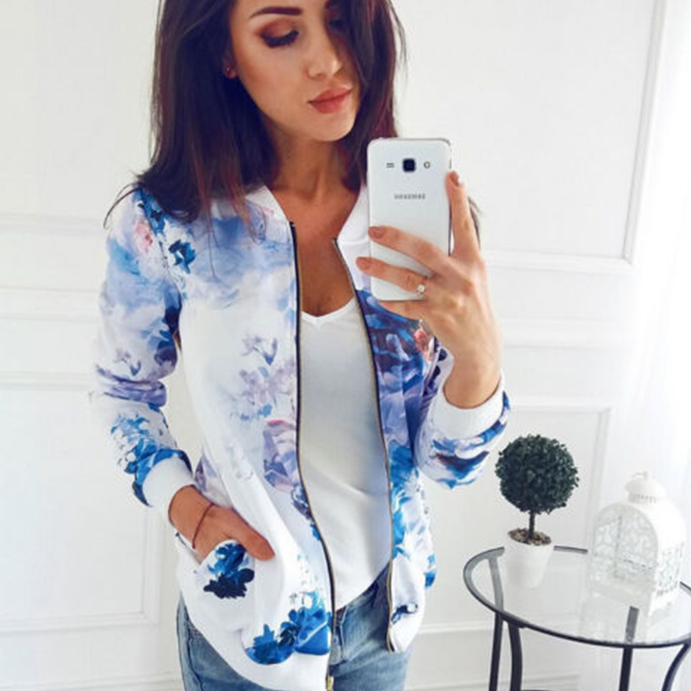 Plus Size Printed Bomber Jacket Women Pockets Zipper Long Sleeve Coat Female Flower Chiffon White Jacket Innrech Market.com