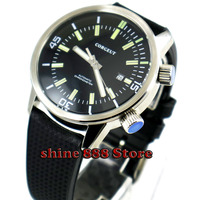 Corgeut 45mm Automatic Luminous Black Dial Rubber Strap white hands Men's Wristwatch big watch
