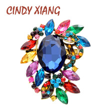 CINDY XIANG New Large Crystal Flower Brooches For Women Vintage Coat Brooch Pin Elegant Classic Bouquet Accessories 6 Colors cindy xiang purple color crystal flower large brooches for women autumn coat brooch pin elegant beautiful fashion jewelry new