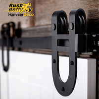1 5m 2 5m Horseshoe Steel Sliding Barn Door Hardware Track Closet Set Rustic Vintage Sliding