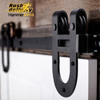 1 5m 2 5m Horseshoe Steel Sliding Barn Door Hardware Track Closet Set Rustic Vintage Sliding