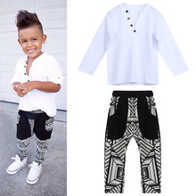 2 pcs set for boy kids clothes 2017 baby boy gentleman clothing sets kids clothes set Long Sleeve T Shirt +Print  Pants 4
