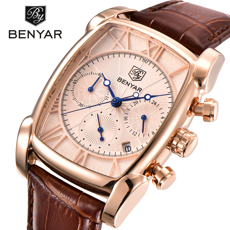 BENYAR Luxury Brand Watches Men Military Sports Leather Quartz Watch Chronograph Waterproof Relogio Masculino erkek kol saati brand pagani design luxury chronograph sport mens watches waterproof quartz military watch relogio masculino erkek kol saati