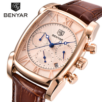 BENYAR Luxury Brand Watches Men Military Sports Leather Quartz Watch Reloj Hombre Chronograph Waterproof Relogio Masculino