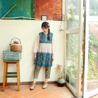 2017 New High Quality Autumn Handmade Beaded Embroidered One Piece Dress Shirt Medium Long Vintage Top
