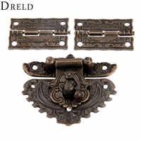 DRELD Bronze Antique Meubles Matériel Boîte Loquet Bascule Boucle + 2 pièces Décoratif Armoire Charnières pour Boîte En Bois De Bijoux