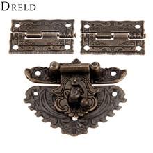 DRELD Античная бронзовая фурнитура для мебели, коробка с защелкой и застежкой+ 2 декоративные петли для шкафа, деревянная коробка для ювелирных изделий