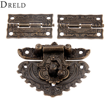 DRELD Antique Bronze Furniture Hardware Box Latch Hasp Toggle Buckle + 2Pcs Decorative Cabinet Hinges for Jewelry Wooden - discount item  10% OFF Hardware