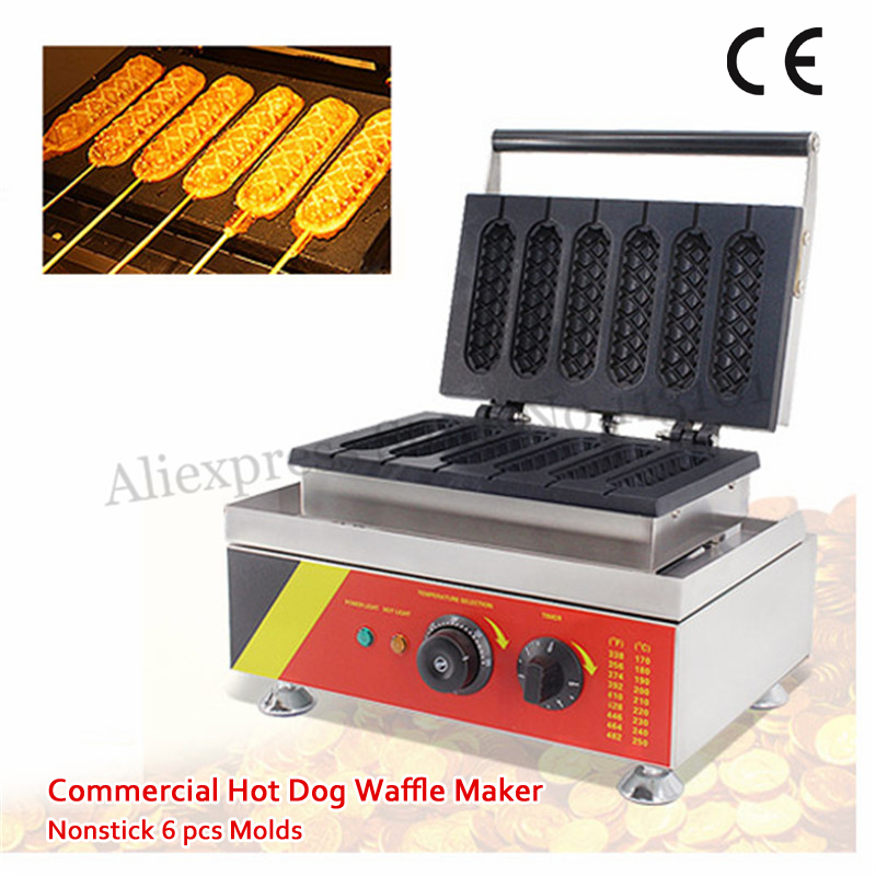 French Hot Dog Waffle Maker 1500W Stainless Steel Muffin Hotdog Lolly Waffle Machine Nonstick 6 Molds 110v 220v lolly waffle maker muffin stick waffle machine with 4 pcs butterflys shape molds