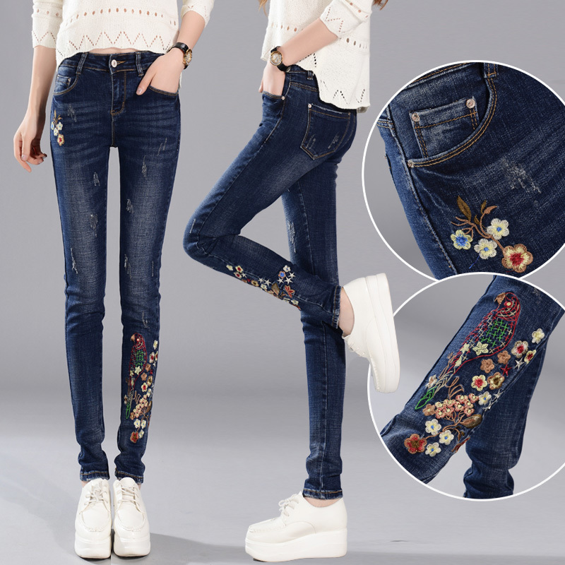 ФОТО New 2017 Women Vintage Embroidery Pants Spring Winter Jeans Female Fashion Mid Waist Jeans Femme Pencil Denim Pants Z725