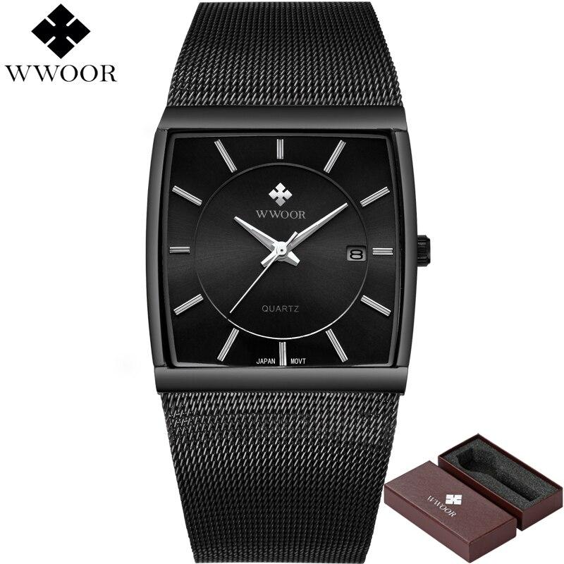 Nouveau WWOOR Top Marque De Luxe Hommes Carré Étanche Sport Montres Hommes de Quartz En Acier Montre-Bracelet Mâle Noir Horloge relogio masculino