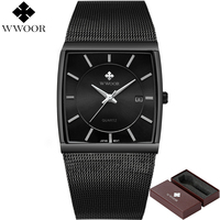 New WWOOR Top Brand Luxury Men Square Waterproof Sport Watches Men S Quartz Steel Wrist Watch