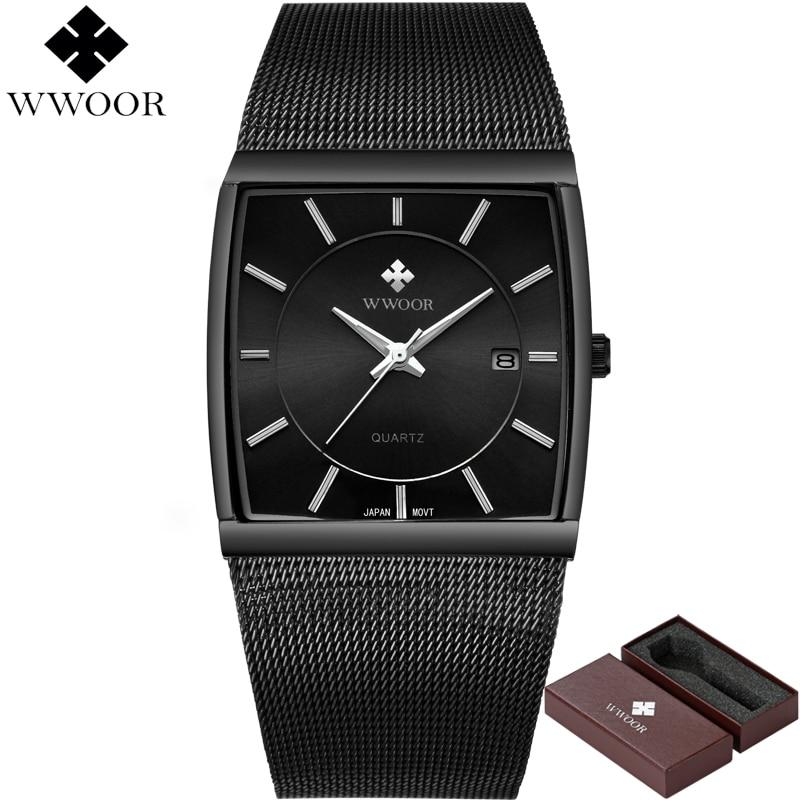 WWOOR Men Square Waterproof Quartz Watch Men Watches Top Brand Luxury Steel Strap Sport Wrist Watch Male Clock Relogio Masculino цена