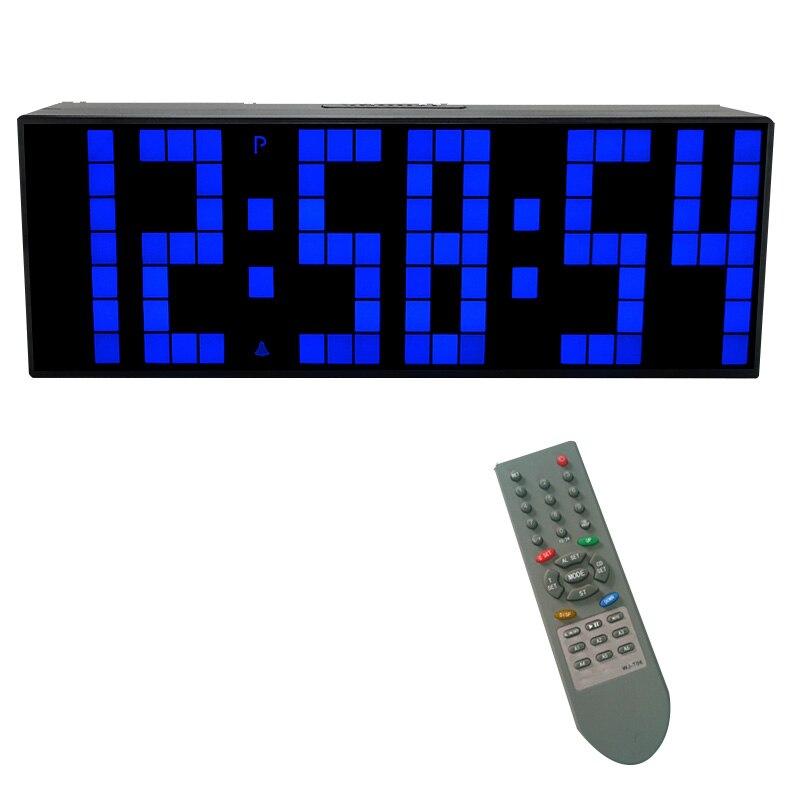 KOSDA télécommande grande alarme numérique LED horloge compte à rebours grand écran chronomètre sportif Snooze température décor à la maison-in Alarme Horloges from Maison & Animalerie    2
