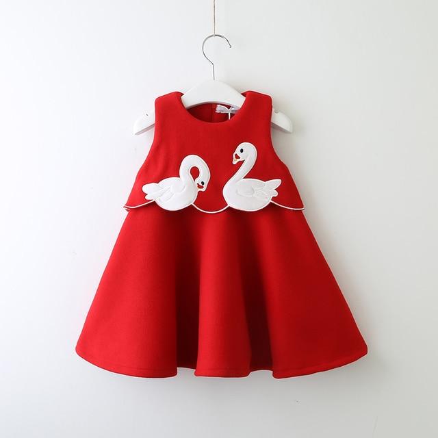 de0955854999 Little Girl Cartoon Woolen Dress Winter Toddler Girl Goose Ruffle ...