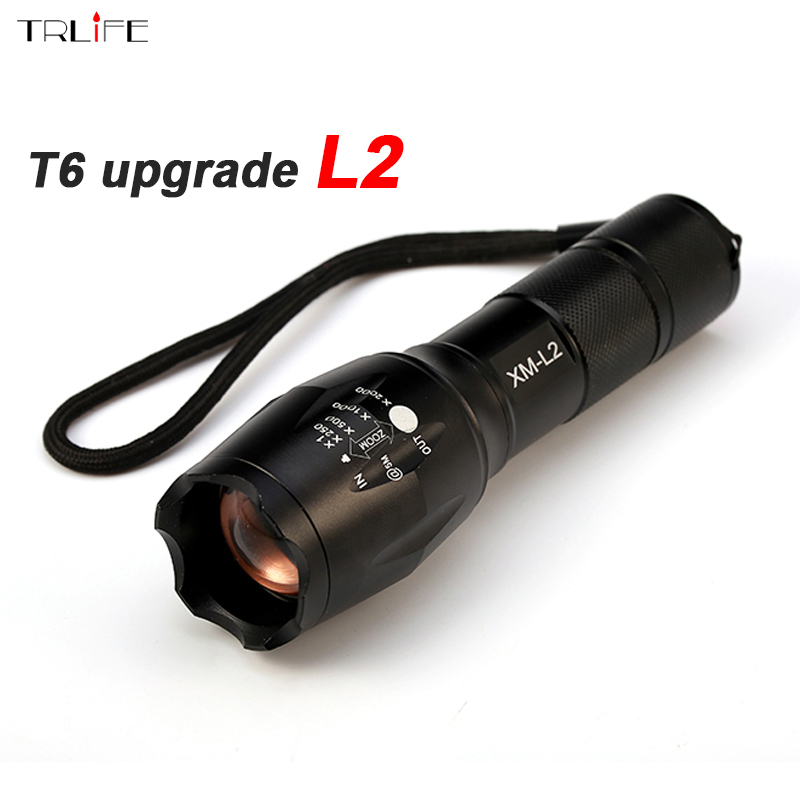 E17 8000LM CREE XM-L2 Tactical LED Flashlight Torch Zoomable CREE LED Flashlight Lamp Light For 3xAAA or 1x 18650 Rechargeable e17 cree xm l t6 flashlight 3800lumens led torch zoomable powerful led flashlight torch linternas light for 3aaa or 18650 zk93
