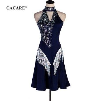 Latin Dance Dress Women Latin Dance Competition Dresses Fringed Salsa Blue D0644 Rhinestones Sequins Tassels Hem
