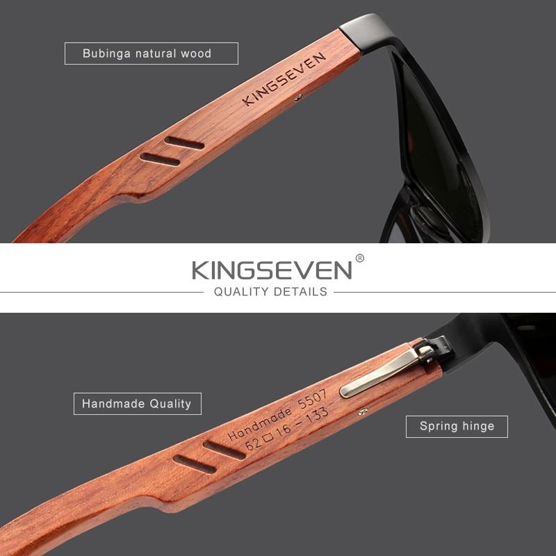 KINGSEVEN Design Handmade Natural Bubinga Wooden+Aluminum Sunglasses Men Polarized Fashion Sun Glasses Square UV400 Gafas De Sol