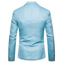 купить!  Повседневный стиль мужской пиджак с надрезом отворотом Silm Fit новая мода выпускного вечера мужской