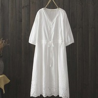 Free Shipping High Quality 3/4 Sleeve 2019 Cotton Embroidery Summer Long Mid Calf White Dress Japan Style Loose V neck Dresses