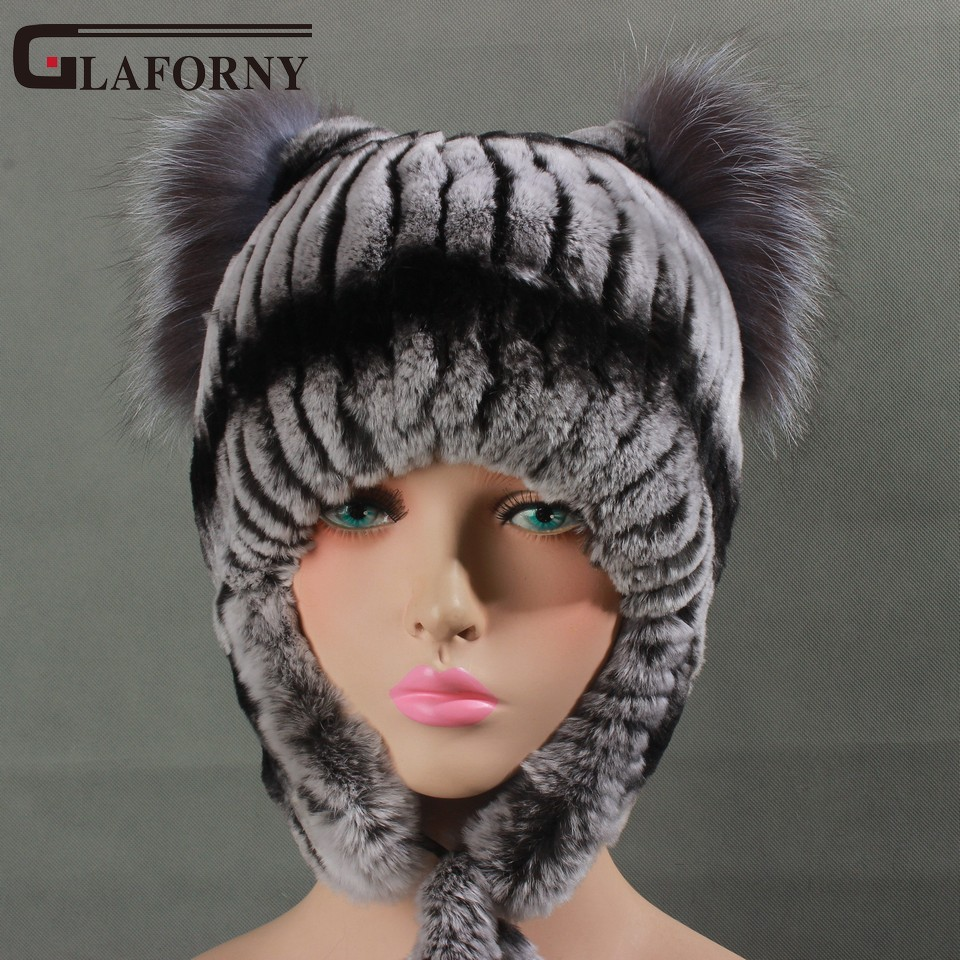 Glaforny 2017 Women Warm Fur Hats with Ear Protect Genuine Rex Rabbit Fur Bomber Hats Silver Fox Fur Top for Russian Winter
