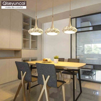 Qiseyuncai Modern minimalist restaurant three head led chandelier creative fashion warm round strip sucker lighting