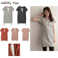 Cotton Striped Nursing Dress False Two Pieces Nursing Clothes Women's Breastfeeding Clothing for Feeding Maternity Clothes