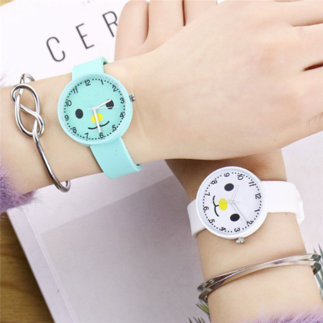 Fashion children's watch cartoon pattern silicone table digital dot scale quartz