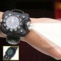 Impermeable al aire libre Brújula Reloj LED lámpara de Noche Reloj Corriendo Senderismo Acampar Batería Incorporada Recargable Linterna