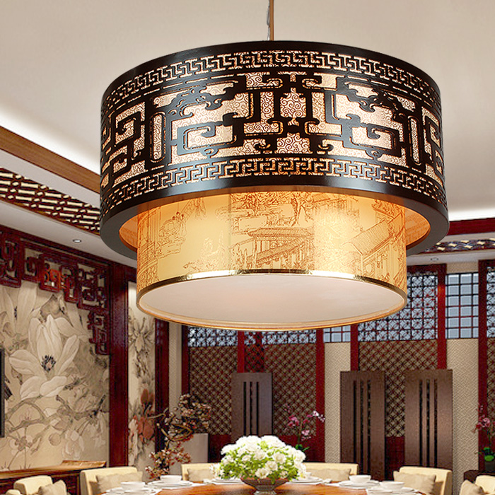 Chinese style Wooden retro pendant lights wood dining room restaurant atmosphere sheepskin hotel lobby lamps art project ZA ZS38 chinese style iron lantern pendant lamps living room lamp tea room art dining lamp lanterns pendant lights za6284 zl36 ym