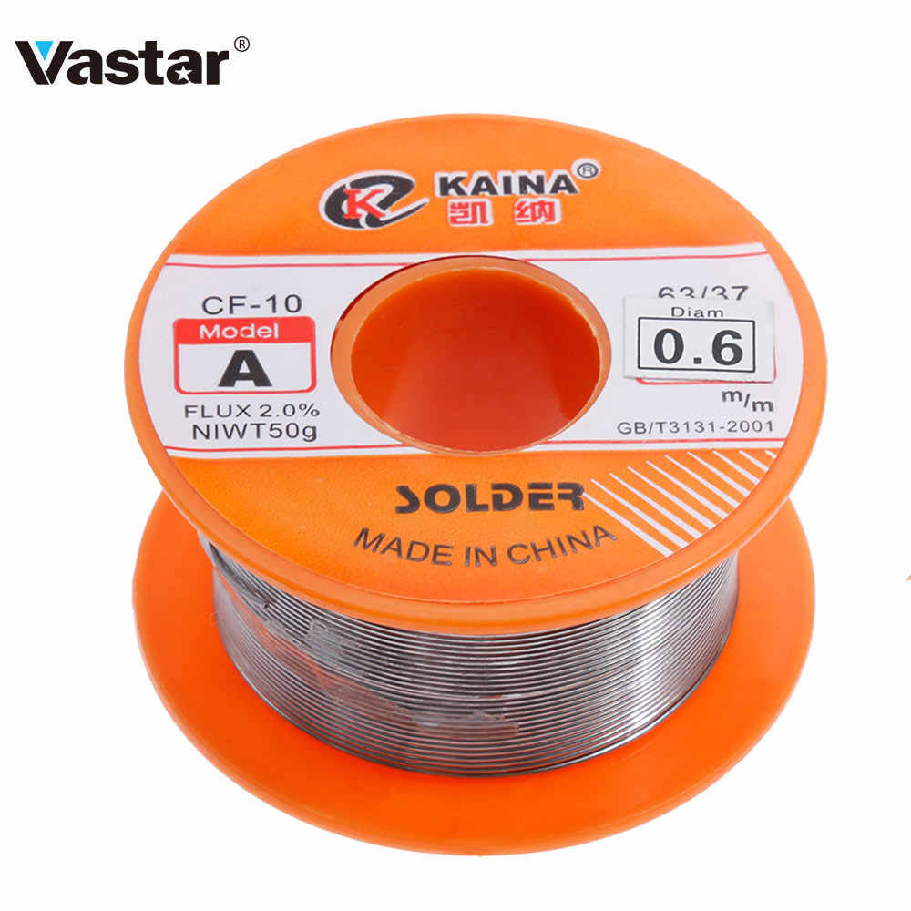 Vastar 0.6/0.8/1/1.2/1.5 Mm 63/37 Flux 1.2%/2.0% 45FT Tin Tin Lead wire Melt Rosin Core Soldeer Soldeer Wire Roll